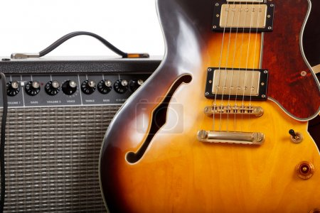 Photo for An electric guitar and amplifier on a white background - Royalty Free Image