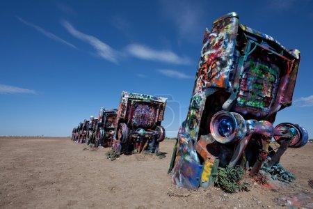 Foto de El ecléctico Rancho cadillac fuera de texas amarillo - Imagen libre de derechos