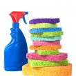 A red and blue blank spray bottle with a multicolo...
