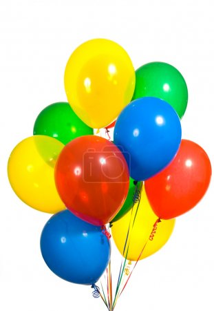 Photo for Primary color ballons arranged in a bouquet for a birthday party or other type celebration - Royalty Free Image
