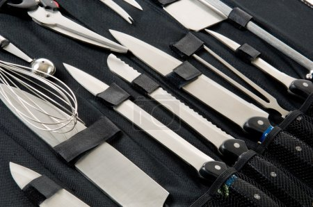 Photo for Professional chefs, cooks knife set in black case on white background - Royalty Free Image