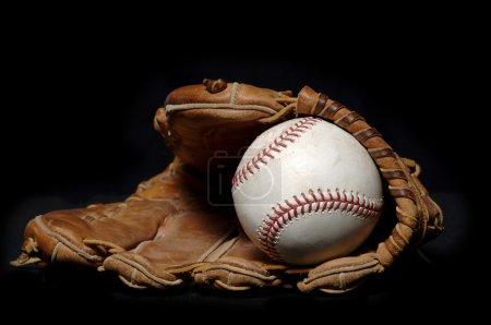 Baseball and Glove on black