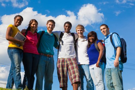 Group of diverse students or friends outside