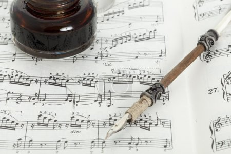 Photo for Piano score with a pen old - Royalty Free Image