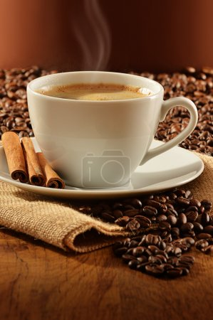 Photo for Composition with white cup of coffee - Royalty Free Image