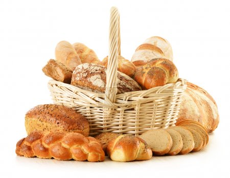 Photo for Composition with bread and rolls isolated on white - Royalty Free Image