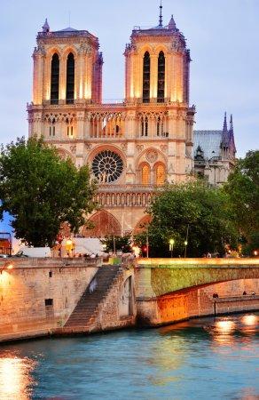 Photo pour Cathédrale Notre-Dame de Paris, France après le coucher du soleil - image libre de droit