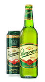 Bottle and can of Staropramen beer isolated on white