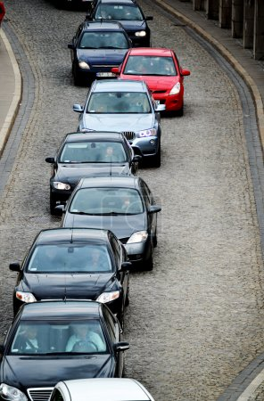 Cars in traffic jam on the one way street