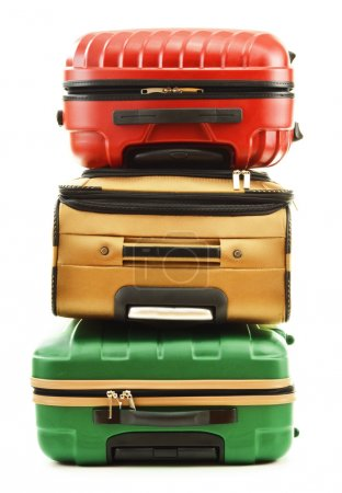 Three suitcases isolated on white background