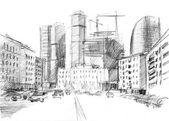 Ručně kreslenou z velkého města s moderní mrakodrapy