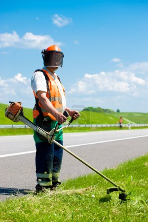 Road landscapers cutting grass along the road
