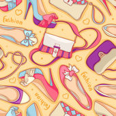 Seamless background of fashionable women's shoes and bag