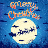 Beautiful Christmas card with Santa Claus sleigh flying over a forest in the moonlight