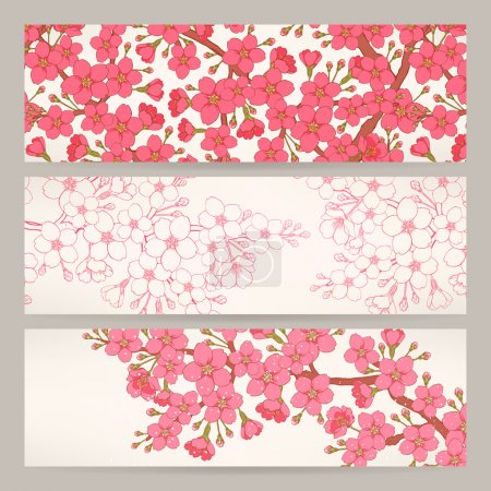 Illustration for Set of three beautiful banners with pink cherry flowers - Royalty Free Image