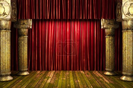 Photo for Red fabric curtain on stage - Royalty Free Image