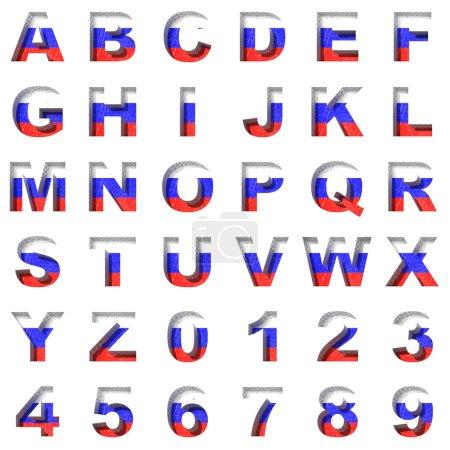 Russian metal alphabet on white