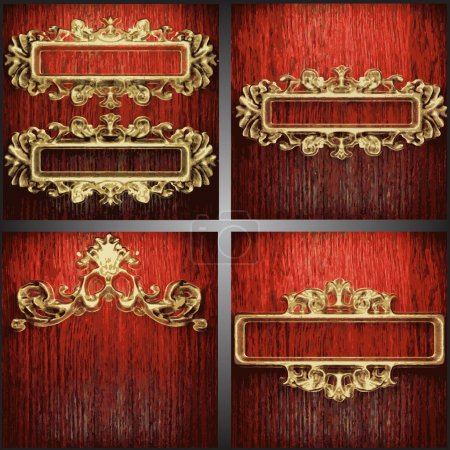 Illustration for Vector wood and gold background set - Royalty Free Image