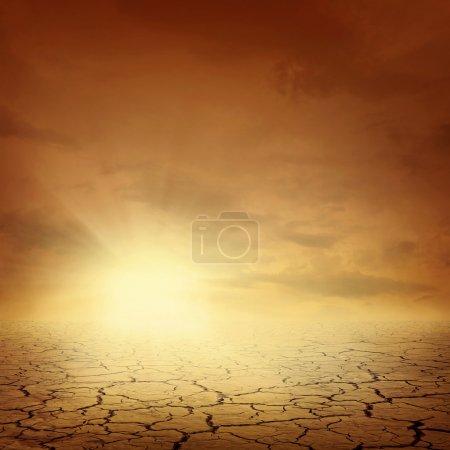 Photo pour Desert paysage arrière-plan réchauffement climatique concept - image libre de droit