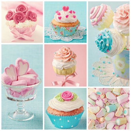 Photo for Pastel colored cupcakes and marshmallow collage - Royalty Free Image