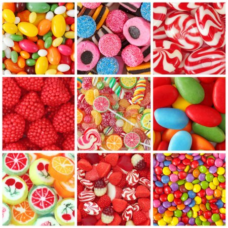Photo for Collage of photos with different sweets - Royalty Free Image