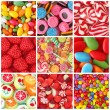 Collage of photos with different sweets...