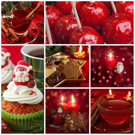 Red christmas collage