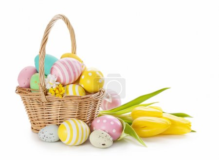 Photo for Basket with easter eggs on white background - Royalty Free Image