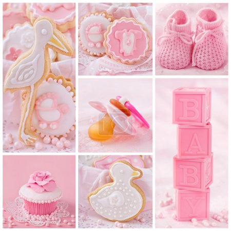 Photo for Collage with sweets and decoration for baby party - Royalty Free Image