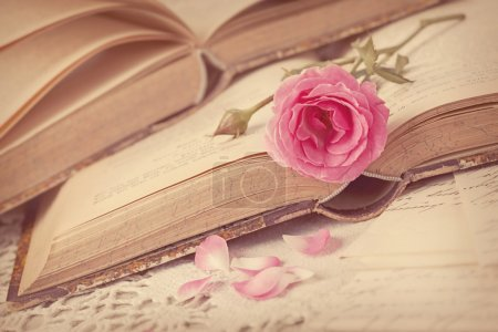Photo for Pink flowers, letters and old books - Royalty Free Image
