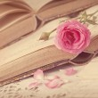 Pink flowers, letters and old books...