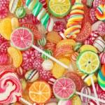 Mixed colorful fruit bonbon close up...