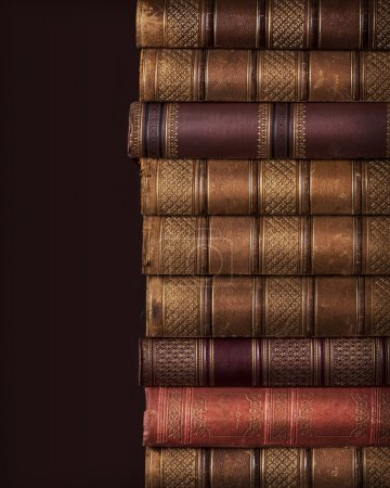 Photo for Pile of ancient books on brown background - Royalty Free Image