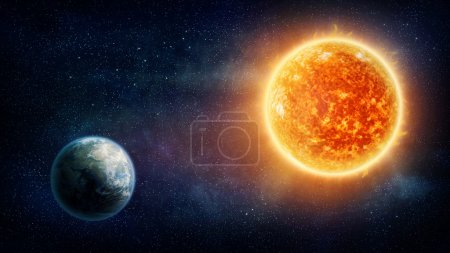 Photo for Planet Earth, sun and stars (Nasa imagery) - Royalty Free Image