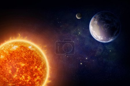 Photo for Planet Earth moon and sun (Nasa imagery) - Royalty Free Image