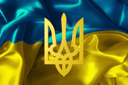 Photo pour Drapeau de l'Ukraine avec un blason - image libre de droit