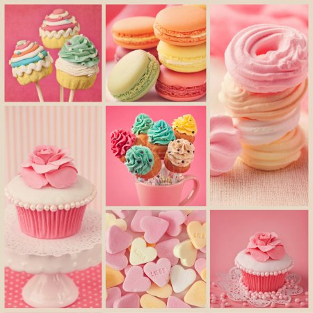 Photo for Collage of photos with pastel colored cupcakes and meringue - Royalty Free Image