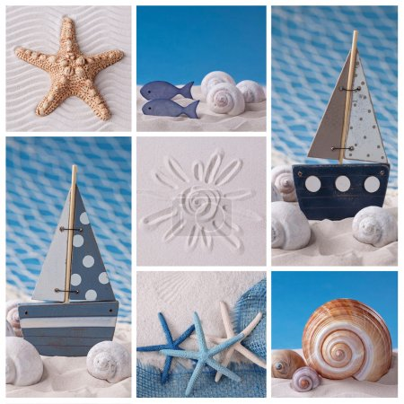 Photo for Collage of photos with marine life decoration - Royalty Free Image