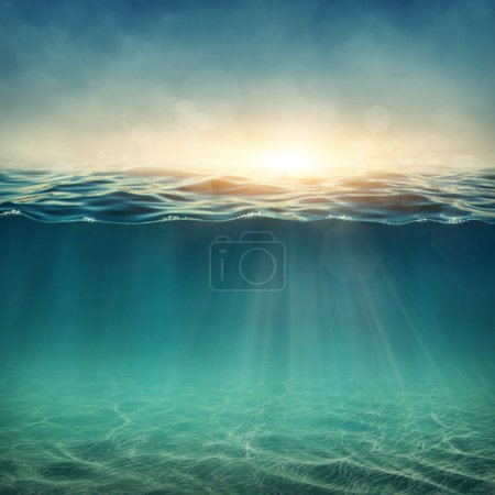 Photo for Abstract underwater background with sunbeams - Royalty Free Image