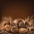 Various bread on a wooden table...