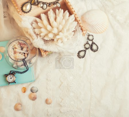 Photo for Vintage background with seashells, watch and jewelry. Romantic photo - Royalty Free Image