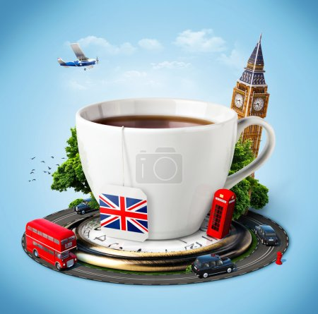 Photo for Traditional afternoon tea and famous symbols of England. Tourism - Royalty Free Image