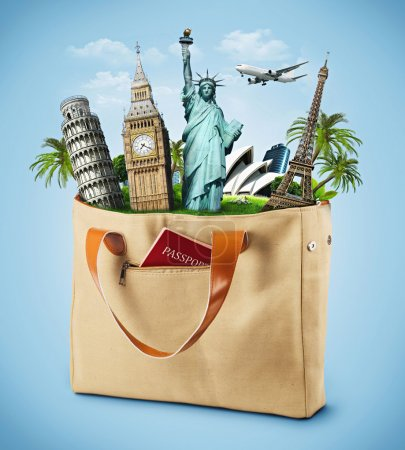 Illustration of a bag full of famous monument with passport