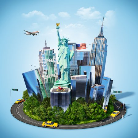 Photo for Famous symbols of New York city. Traveling to America - Royalty Free Image