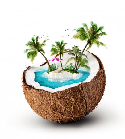 Photo for Tropical island in coconut. Travelling, vacation - Royalty Free Image