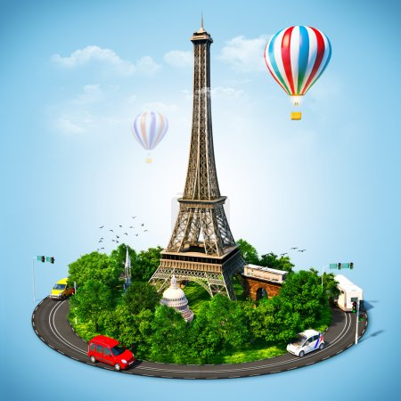 Photo for Eiffel Tower. Famous symbols of Paris. Traveling to France - Royalty Free Image