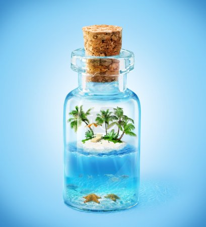 Photo for Tropical island and underwater world in the bottle. Travelling, vacation - Royalty Free Image