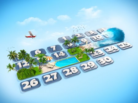Photo for Tropical island. One week at the calendar - Royalty Free Image