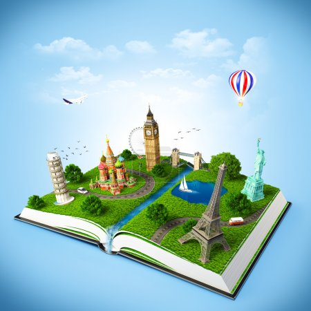 Photo for Illustration of a opened book with famous monuments. traveling - Royalty Free Image