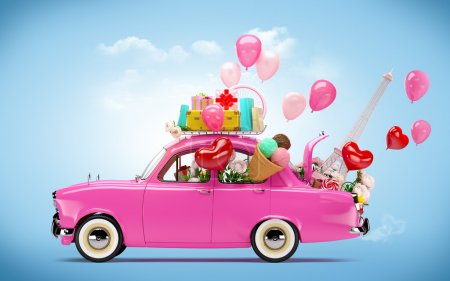 Photo for Pink car with symbols of love - Royalty Free Image